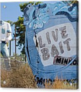 Live Bait Sign And Muffler Man Statue Acrylic Print