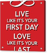 Live Love Red Acrylic Print