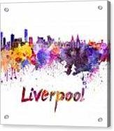 Liverpool Skyline In Watercolor Acrylic Print