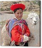 Llama Lady Acrylic Print