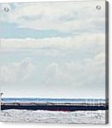 Loaded Oil Tanker On Ocean Under Stormy Sky Clouds Acrylic Print