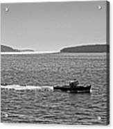 Lobster Boat And Islands Off Acadia National Park In Maine Acrylic Print
