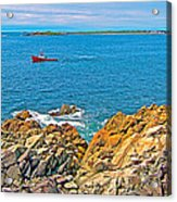 Lobster Boat Checking Traps In Louisbourg Bay-ns Acrylic Print
