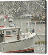 Snowy Lobster Boats Acrylic Print