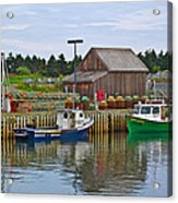 Lobster Fishing Baskets And Boats In Forillon Np-qc Acrylic Print