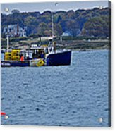 Lobstering Off Maine Coast Acrylic Print