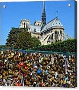 Locks Galore On The Pont De L'archeveche In Paris Acrylic Print