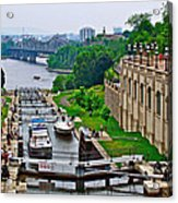 Locks On Rideau Canal East Of Parliament Building In Ottawa-on Acrylic Print