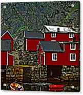 Lofoten Fishing Huts 2 Acrylic Print by Steve Harrington