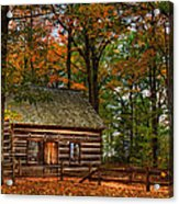 Log Cabin In Autumn Color Acrylic Print
