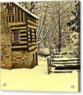 Log Cabin In The Snow Acrylic Print