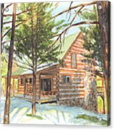 Log Cabin In The Woods Watercolor Portrait Acrylic Print
