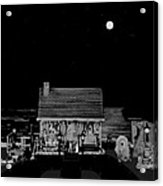 Log Cabin Scene Near The Ocean At Midnight In Black And White Acrylic Print by Leslie Crotty