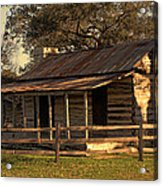 Log Cabins In Sunset Acrylic Print by Linda Phelps