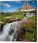 Logan Pass Cascades Acrylic Print