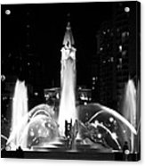 Logan Square Fountain At Night In Black And White Acrylic Print