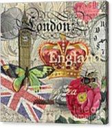London England Vintage Travel Collage  Acrylic Print