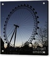 London Eye And New Moon Acrylic Print
