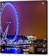 London Eye Night Glow Acrylic Print