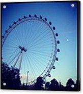 London Eye With Full Moon Acrylic Print by Maeve O Connell