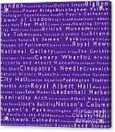 London In Words Purple Acrylic Print