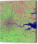 London, Infrared Satellite Image Acrylic Print