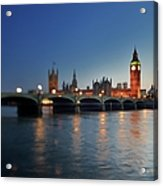 London, Palace Of Westminster At Sunset Acrylic Print