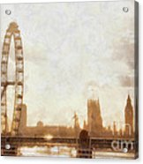 London Skyline At Dusk 01 Acrylic Print by Pixel  Chimp