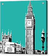 London Skyline Big Ben - Teal Acrylic Print