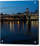 London Skyline Reflecting In The Thames River At Night Acrylic Print