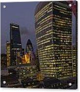 London Skyline Through A Fence Acrylic Print
