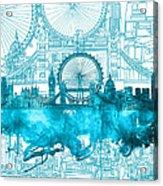 London Skyline Vintage Blue 2 Acrylic Print