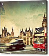 London The Uk Red Bus Taxi Cab In Motion And Big Ben Acrylic Print
