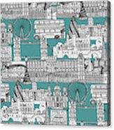 London Toile Blue Acrylic Print