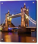 London - Tower Bridge During Blue Hour Acrylic Print