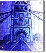 London Tower Bridge Tinted Blue Acrylic Print