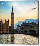 London Uk Big Ben The Palace Of Westminster At Sunset Acrylic Print
