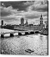 London Uk Big Ben The Palace Of Westminster In Black And White Acrylic Print