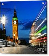 London Uk Red Bus In Motion And Big Ben At Night Acrylic Print
