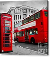 London Uk Red Phone Booth And Red Bus In Motion Acrylic Print