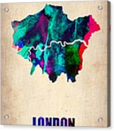 London Watercolor Map 2 Acrylic Print by Naxart Studio