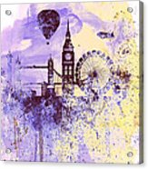 London Watercolor Skyline Acrylic Print
