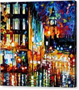 Londons Lights - Palette Knife Oil Painting On Canvas By Leonid Afremov Acrylic Print