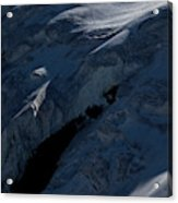 Lone Alpinist Silhouetted On Heavily Acrylic Print