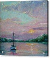Lone Boat At Sunset Acrylic Print