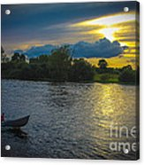 Lone Boat On The River Photo Acrylic Print