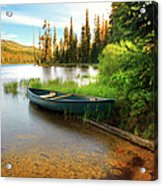 Lone Canoe On Shores Of Upper Payette Acrylic Print