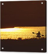 Lone Paddler At Sunset Acrylic Print