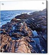 Lone Person On Rocks At Pemaquid Point Acrylic Print