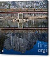 Lone Tourist And  Yosemite Falls Reflection Acrylic Print
